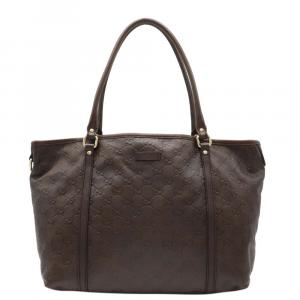 Gucci Brown Leather Guccissimma   Totes