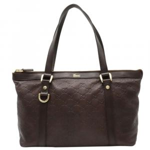 Gucci Brown Leather Guccissima   Tote