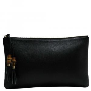 Gucci Black Leather Bamboo Clutch