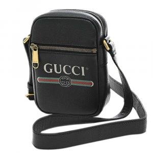 Gucci Black Leather Logo Messenger Bag
