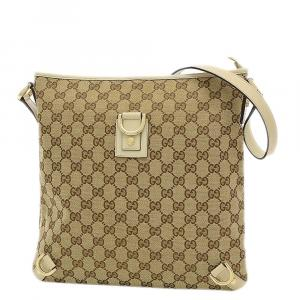 Gucci Beige  Leather GG Canvas Abbey Messenger Bag