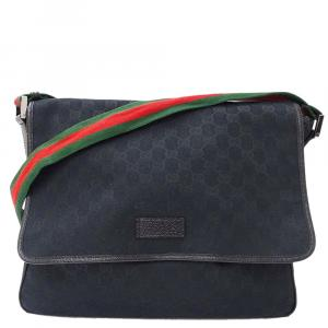Gucci Black Canvas GG Messenger Bags