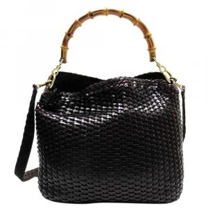 Gucci Black Leather Woven Leather Bamboo Tote