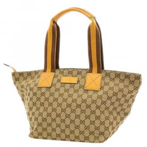Gucci Beige Canvas  Web Totes