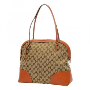 Gucci Brown/Orange Leather-trimmed GG Canvas Bree Bag