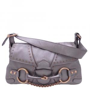 Gucci Grey Leather  Horsebit Shoulder Bag