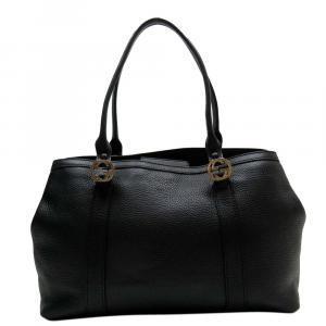 Gucci Black Leather  Tote Bag