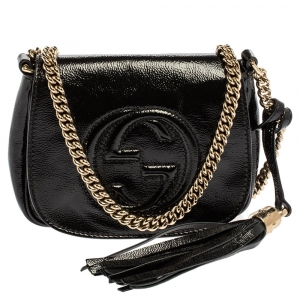 Gucci Black Patent Leather Soho Flap Chain Crossbody Bag