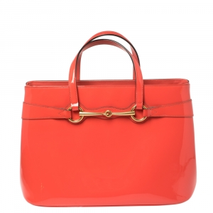 Gucci Orange Patent Leather Medium Bright Bit Tote