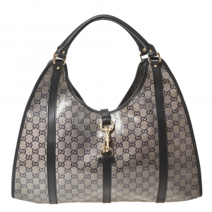 Gucci Grey/Black GG Crystal Canvas and Leather Large Bardot Joy Tote