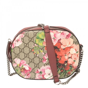 Gucci Multicolor GG Supreme Blooms Canvas and Leather Mini Chain Crossbody Bag