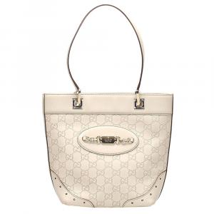Gucci White Guccissima Leather Punch Tote Bag