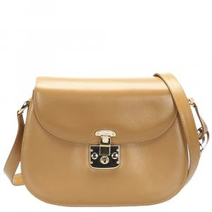 Gucci Brown Leather Lady Lock Crossbody Bag
