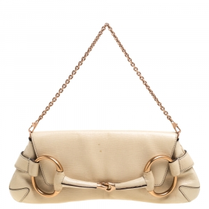 Gucci Cream Leather Horsebit Flap Chain Clutch