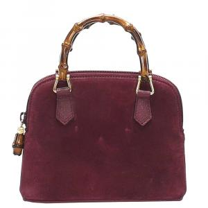 Gucci Purple Suede Bamboo Satchel