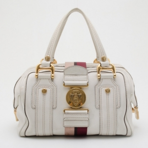 Gucci White Leather Aviatrix Medium Boston