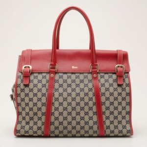 Gucci Vintage Red and Navy GG Monogram Satchel