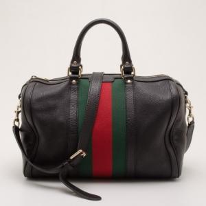 Gucci Black Leather Medium Boston Satchel