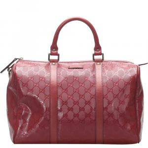 Gucci Red GG Imprime Canvas Joy Boston Bag