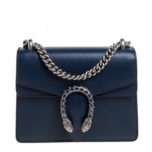 Gucci Blue Leather Mini Dionysus Shoulder Bag