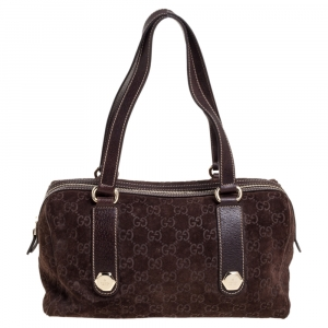 Gucci Brown GG Suede and Leather Charmy Boston Bag