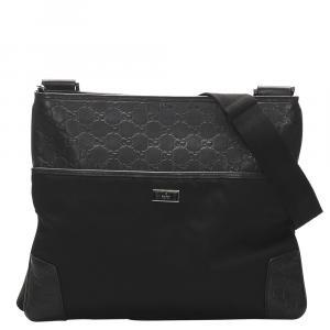 Gucci Black Guccissima Canvas Crossbody Bag