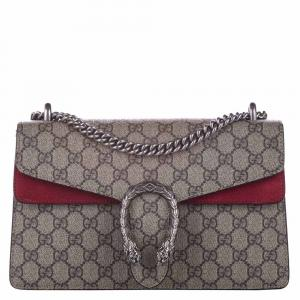 Gucci Brown/Red GG Supreme Canvas Dionysus Small Bag