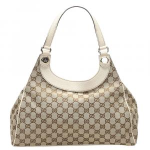 Gucci Brown/Beige Canvas and Leather Charmy Hobo Bag