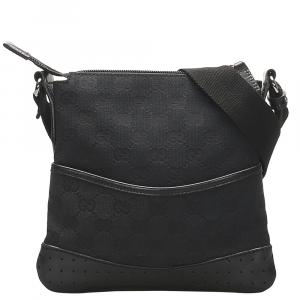 Gucci Black GG Canvas Crossbody Bag