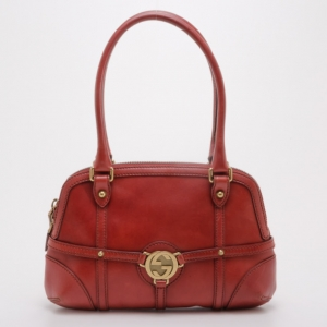 Gucci Red Leather Bowler Satchel