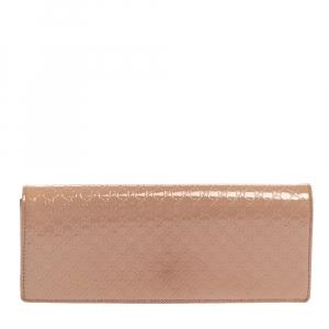 Gucci Beige Microguccissima Patent Leather Broadway Clutch