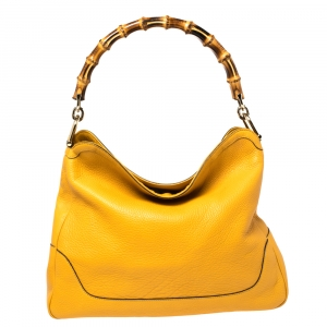 Gucci Yellow Leather Diana Bamboo Handle Shoulder Bag
