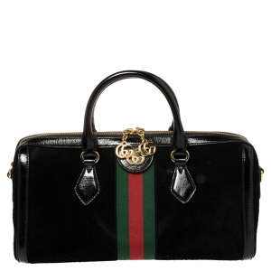 Gucci Black Suede and Patent Leather Ophidia Satchel