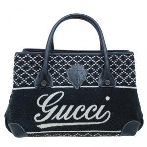 Gucci Black & White Canvas Medium Diamond Blazon Tote