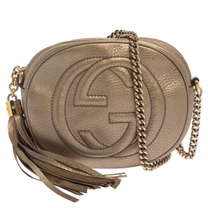 Gucci Metallic Leather Mini Soho Disco Chain Crossbody Bag