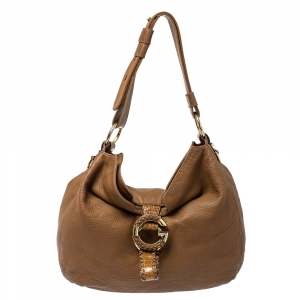 Gucci Brown Leather and Crocodile G Wave Hobo