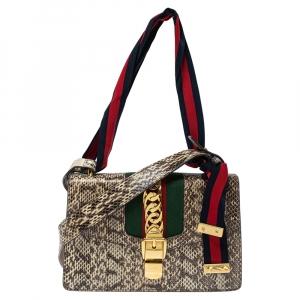 Gucci Grey Snakeskin Small Web Chain Sylvie Shoulder Bag