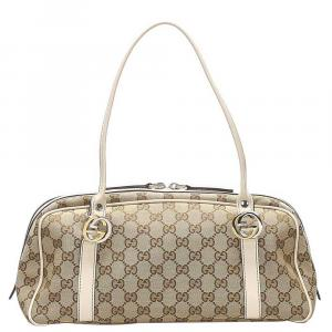 Gucci Brown/Beige GG Canvas Twins Bag