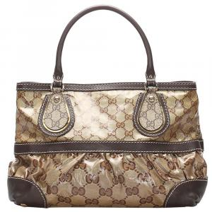 Gucci Brown GG Crystal Canvas Mix Tote Bag
