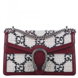 Gucci White Dionysus GG Tweed Shoulder Bag