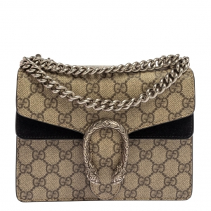 Gucci Black/Beige GG Supreme Coated Canvas and Suede Mini Dionysus Shoulder Bag