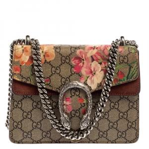 Gucci Multicolor GG Supreme Blooms Canvas and Suede Mini Dionysus Shoulder Bag