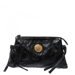Gucci Black Leather Large Hysteria Clutch