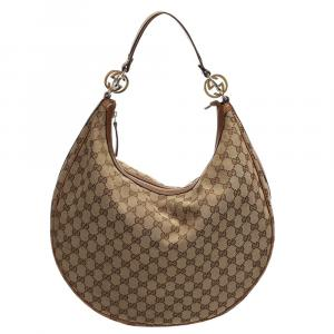 Gucci Brown/Beige GG Canvas Hobo Bag