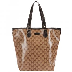 Gucci Brown Vinyl GG Crystal Tote Bag