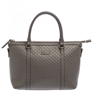 Gucci Grey Microguccissima Leather Top Zip Tote