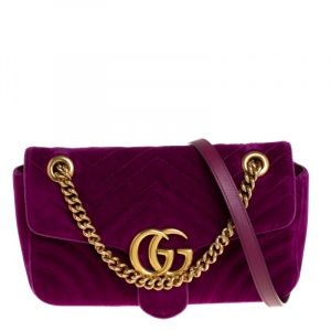 Gucci Magenta Matelasse Velvet Small GG Marmont Shoulder Bag