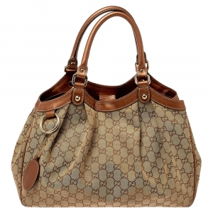Gucci Beige/Bronze GG Canvas and Leather Medium Sukey Tote