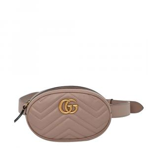Gucci Tan Leather GG Marmont Matelassé Belt Bag