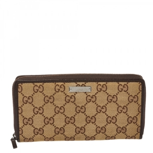 Gucci Beige/Ebony GG Canvas and Leather Zip Around Wallet